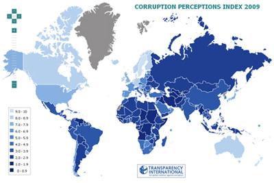 El mapa de la corrupció al món